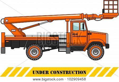 Aerial platform truck. Heavy construction machines. Vector illustration.