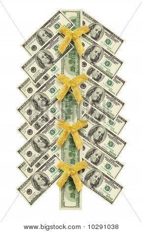 Christmas Tree Made Of Dollar Bills