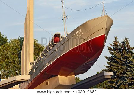 KALININGRAD, RUSSIA - AUGUST 25, 20 Torpedo Boat, The Monument To Baltic Seamen