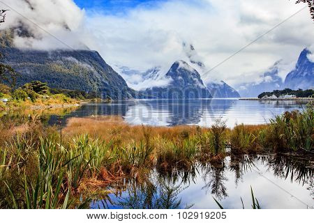 another view point of milford sound in fjord land national park important traveling destination south island new zealand poster