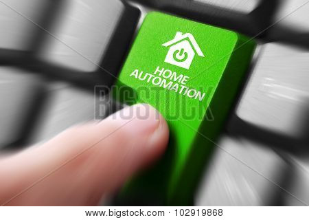 Hand Press Home Automation Button On Keyboard