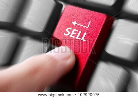 Hand Press Sell Button On Keyboard
