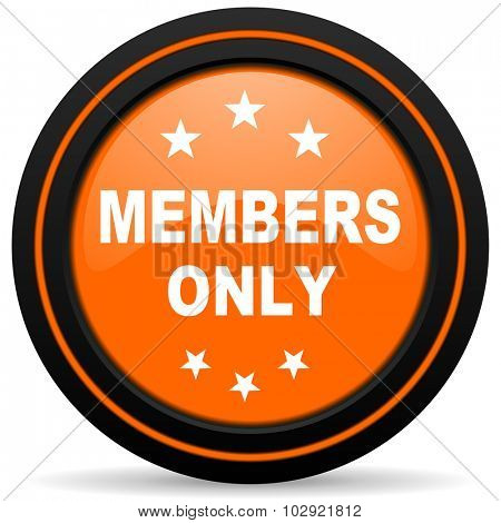 members only orange glossy web icon on white background poster