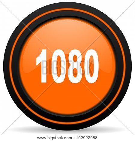 1080 orange glossy web icon on white background