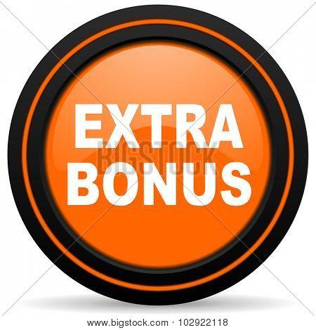 extra bonus orange glossy web icon on white background poster