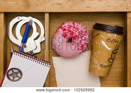 Lunch police workplace Donuts and coffee cup. poster