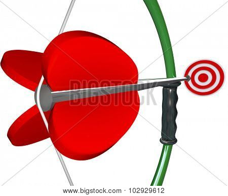 Bow and Arrow aiming at target or bull's eye to illustrate winning a game or competition
