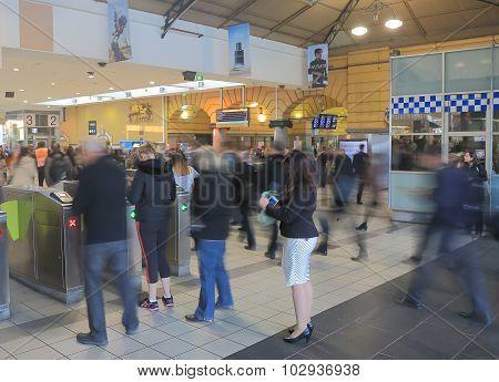 Melbourne commuters train station Australia