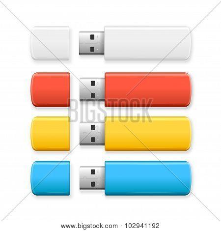 USB Flash Drive Colorful Set. Vector