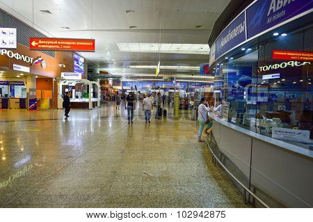 MOSCOW, RUSSIA - AUGUST 19, 2015: airport terminal. Sheremetyevo International Airport is an international airport located in Khimki, Moscow Oblast, Russia, 29 km northwest of central Moscow.