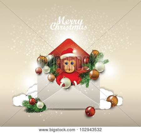 Christmas card. Open envelope  with fir tree branches A monkey with an envelope. A letter for Santa