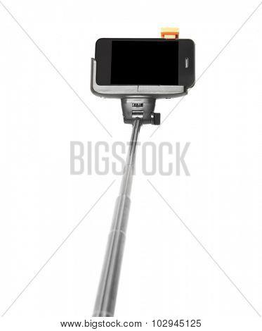Selfie stick on white background