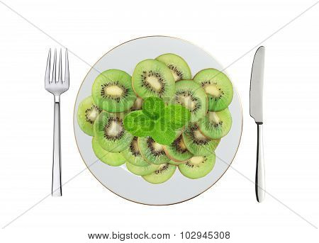 Fresh Kiwi Slices And Mint Herb On White Plate, Spoon And Fork Isolated On White