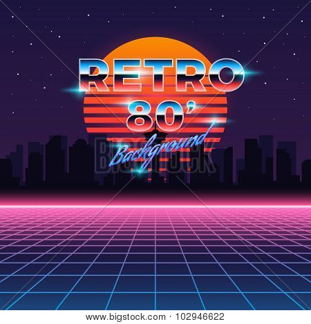 Retro neon abstract Sci-Fi vector background in 80s style