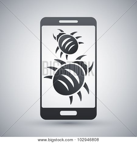 Smartphone Is Infected By Malware, Vector Illustration