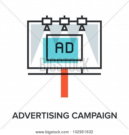 Vector illustration of advertising campaign flat line design concept. poster