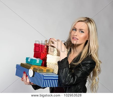 Blonde Woman With Presents