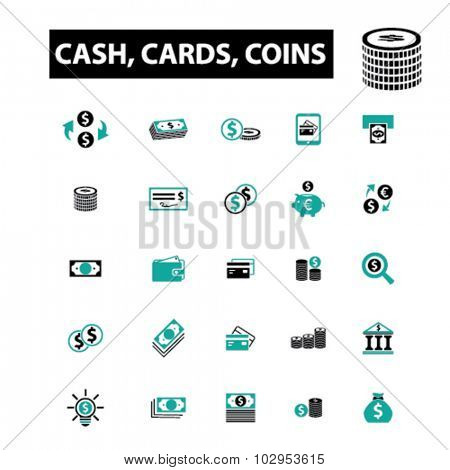 money: cash, cards, coins icons