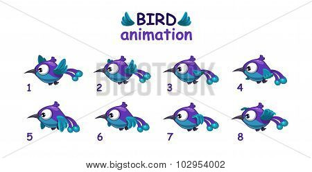 Funny blue cartoon bird flying sprites