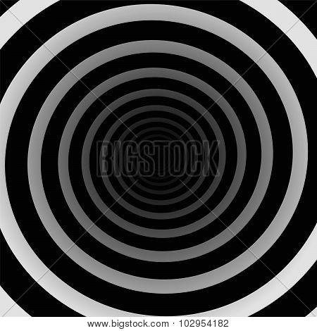 Spiral Tunnel Three Dimensional Black White