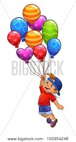 Little boy is flying on balloons