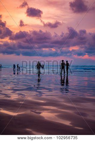 Kuta beach at sunset  in Bali Indonesia