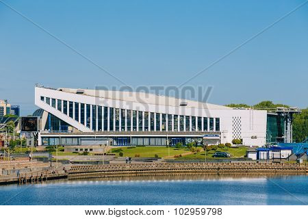 Scenic view of Minsk Sports Palace is an indoor sports arena, lo