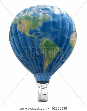 Hot Air Balloon with World Map (clipping path included)