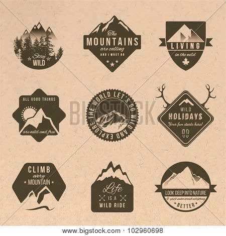 Set of 9 adventure labels with different type designs in vintage style