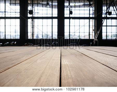 Table Top Counter With Interior Industrial Loft Space Background