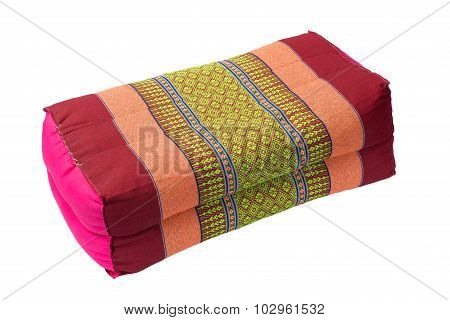 Tradition Native Thai Style Pillow, Isolated On White Background