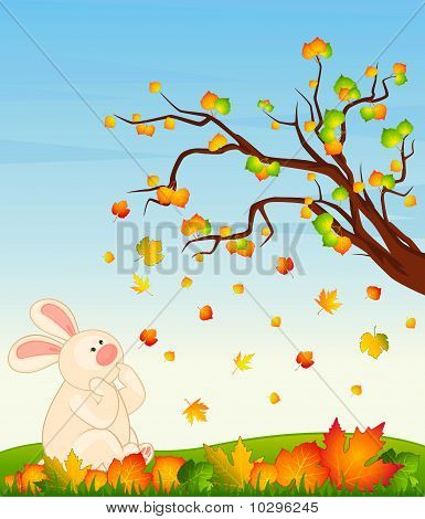 Cartoon little toy bunny with autumnal leaves poster