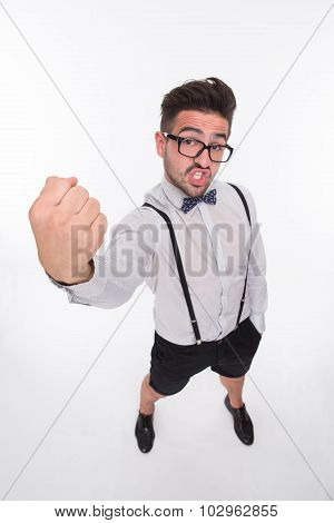 Handsome man showing his fist