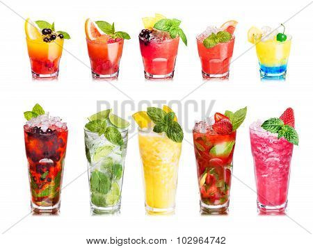 Fruit Cocktails Isolated Set