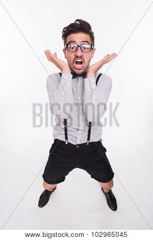 Frightened man in studio