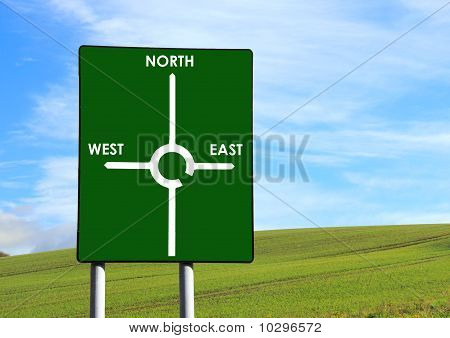 A sign stating North, East and West in front of a pretty background poster