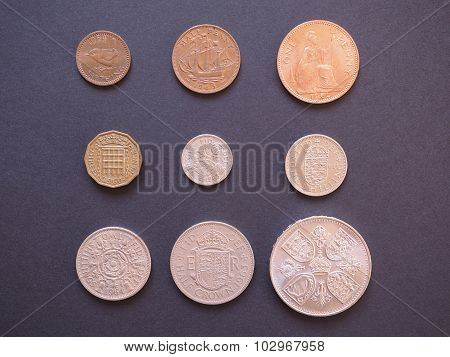 LONDON UK - CIRCA DECEMBER 2014: Full range of Predecimal British Pound coins withdrawn on Decimal Day i.e. 15 February 1971