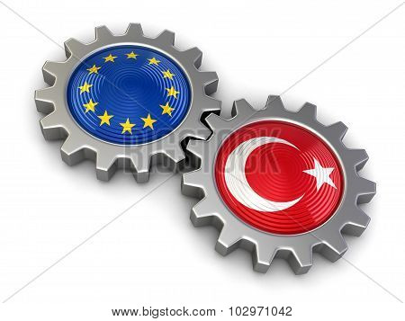 Turkish and European union flags on a gears (clipping path included)
