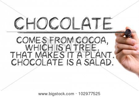 Hand with marker writing: Funny Quote About Chocolate