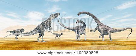 Allosaurus attacks the Diplodocus