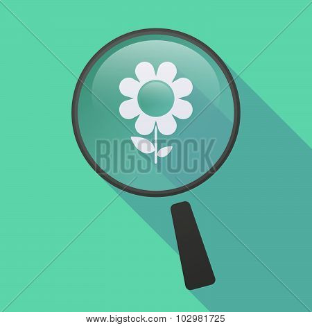 Long Shadow Magnifier Icon With A Flower