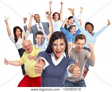 Happy joyful people group isolated white background. poster