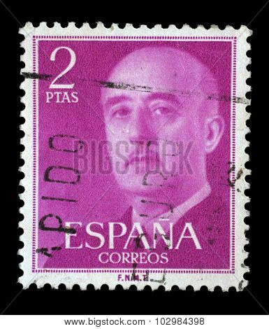 SPAIN - CIRCA 1955: A stamp printed in Spain shows a portrait of Francisco Franco, circa 1955.