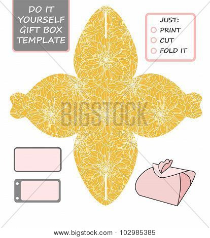 Favor gift box die cut. Box template with dahlia pattern. Great for birthday or wedding gift packaging. poster