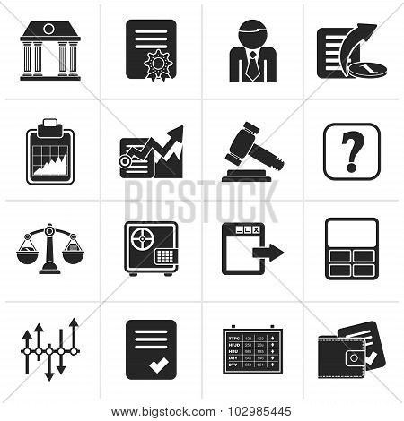 Black Stock exchange and finance icons