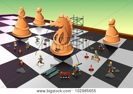 Workers Building A Knight Chess On The Chessboard