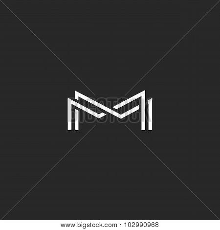 Letter M Monogram Logo, Overlapping Thin Line Black And White Design Elements, Template Wedding Invi