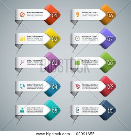 Set of infographic arrows with business marketing icons