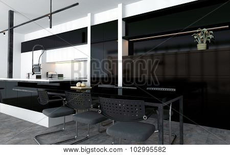Breakfast or eating nook in a modern open-plan kitchen built onto the end of the central island with a bar counter and stools in black and grey decor, 3d rendering