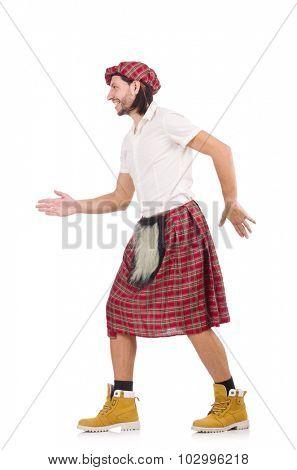 Scotsman greeting somebody isolated on white